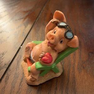 Vintage ceramic pig relaxing figurine trinket